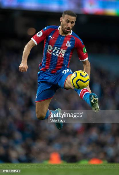 Cenk Tosun of Crystal Palace in action during the Premier League match between Manchester City and Crystal Palace at Etihad Stadium on January 18...