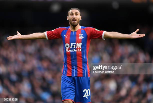 Cenk Tosun of Crystal Palace looks on during the Premier League match between Manchester City and Crystal Palace at Etihad Stadium on January 18 2020...