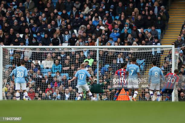 Cenk Tosun of Crystal Palace scores a goal to make it 01 during the Premier League match between Manchester City and Crystal Palace at Etihad Stadium...