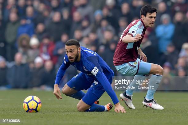 Cenk Tosun of Everton and Jack Cork during the Premier League match between Burnley and Everton at Turf Moor on March 3 2018 in Burnley England