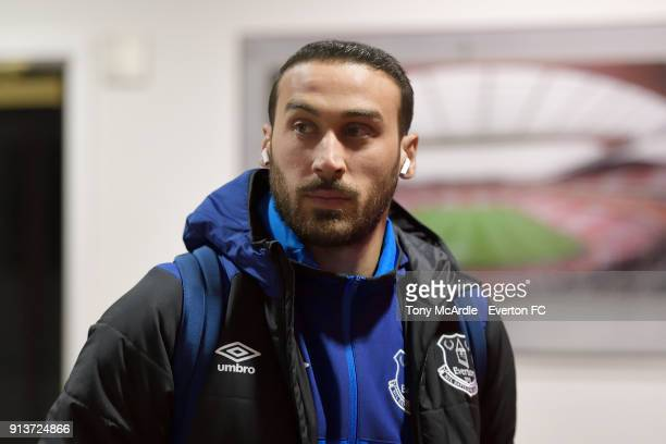 Cenk Tosun of Everton arrives before the Premier League match between Arsenal v Everton at Emirates Stadium on February 3 2018 in London England