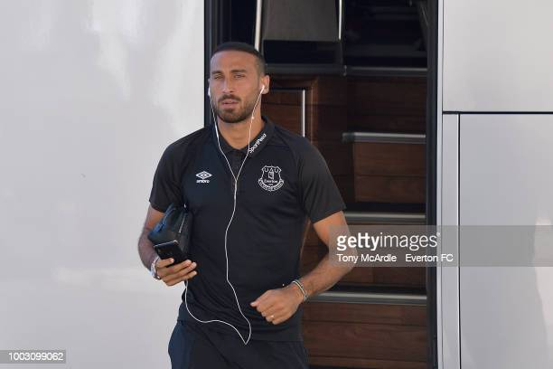 Cenk Tosun of Everton and Zeki Celik of Lille before the Algarve Cup match between Everton and Lille on July 21 2018 in Faro Portugal