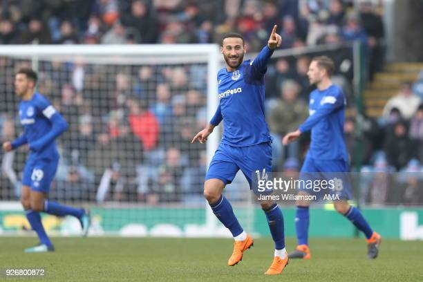 Cenk Tosun of Everton celebrates after scoring a goal to make it 10 during to the Premier League match between Burnley and Everton at Turf Moor on...