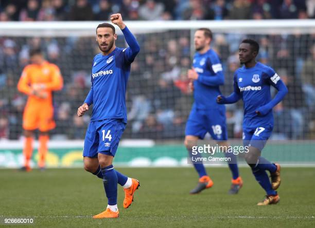 Cenk Tosun of Everton celebrates after scoring his sides first goal during the Premier League match between Burnley and Everton at Turf Moor on March...