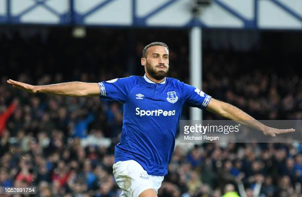 Cenk Tosun of Everton celebrates after scoring his team's second goal during the Premier League match between Everton FC and Crystal Palace at...