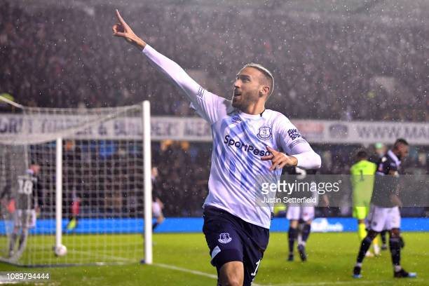 Cenk Tosun of Everton celebrates after scoring his team's second goal during the FA Cup Fourth Round match between Millwall and Everton at The Den on...
