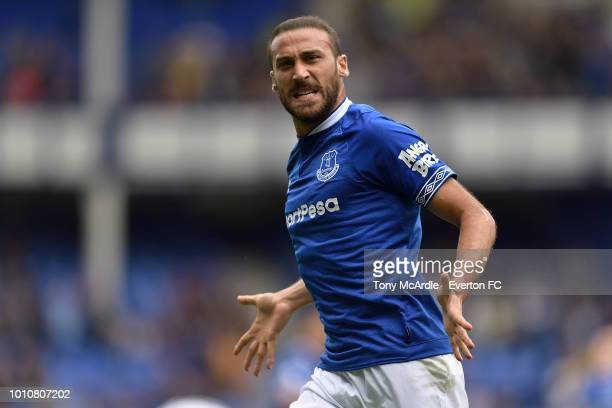 Cenk Tosun of Everton celebrates his goal during the preseason friendly match between Everton and Valencia at Goodison Park on August 4 2018 in...