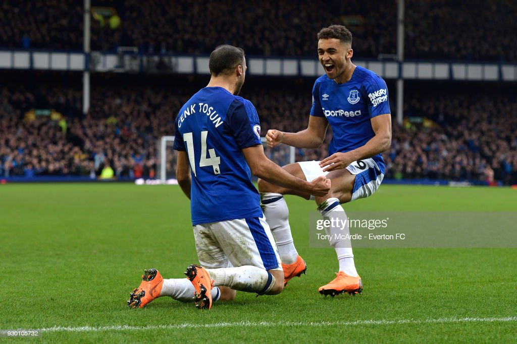 Cenk Tosun (14) of Everton celebrates his goal with Dominic Calvert-Lewin during the Premier League match between Everton and Brighton and Hove Albion at Goodison Park on March 10, 2018 in Liverpool, England.