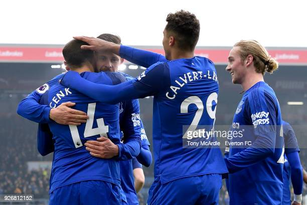 Cenk Tosun of Everton celebrates his goal with Gylfi Sigurdsson Dominic CalvertLewin and Tom Davies during the Premier League match between Burnley...