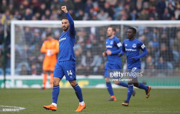 Cenk Tosun of Everton celebrates scoring his side's first goal during the Premier League match between Burnley and Everton at Turf Moor on March 3...