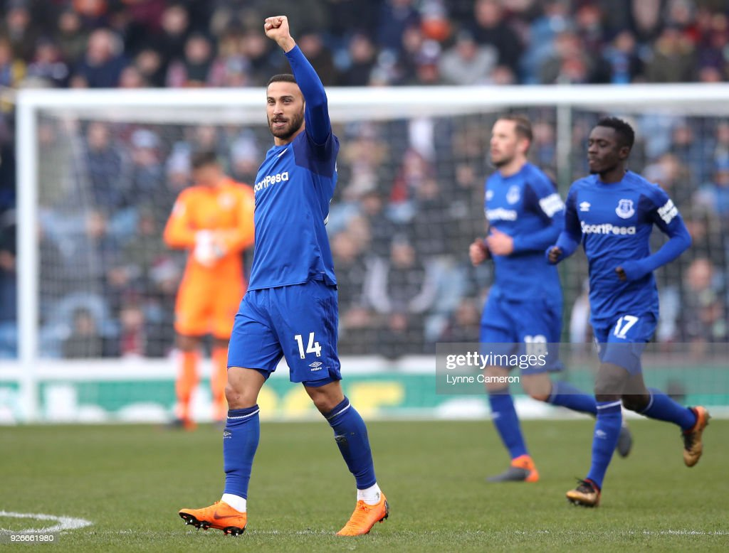 Cenk Tosun of Everton celebrates scoring his side's first goal during the Premier League match between Burnley and Everton at Turf Moor on March 3, 2018 in Burnley, England.