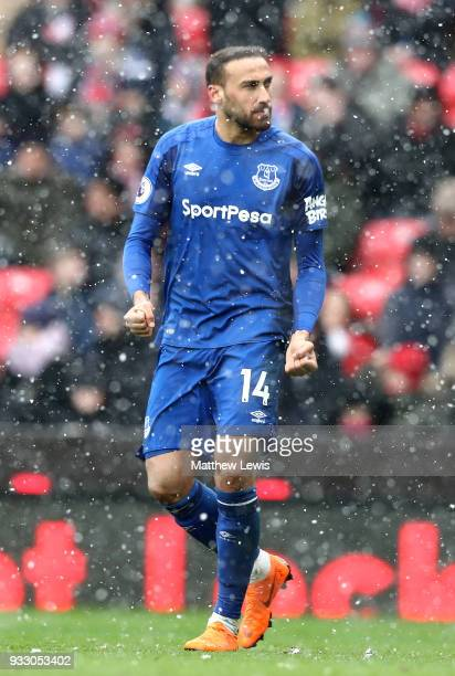 Cenk Tosun of Everton celebrates scoring his side's first goal during the Premier League match between Stoke City and Everton at Bet365 Stadium on...