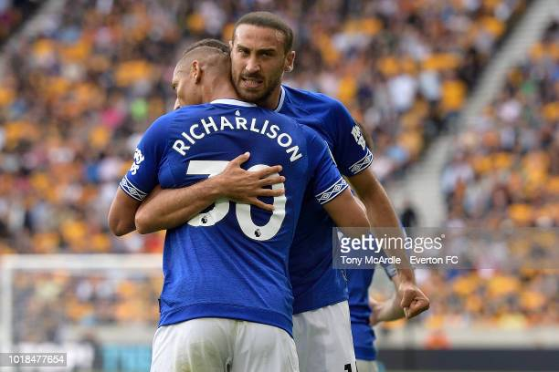 Cenk Tosun of Everton celebrates the goal of Richarlison during the Premier League match between Wolverhampton Wanderers and Everton FC at Molineux...