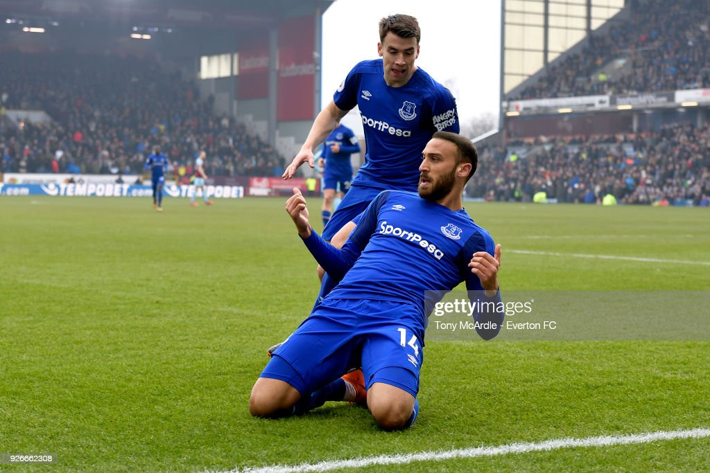 Cenk Tosun of Everton celebrates to scoring the first goal during the Premier League match between Burnley and Everton at Turf Moor on March 3, 2018 in Burnley, England.