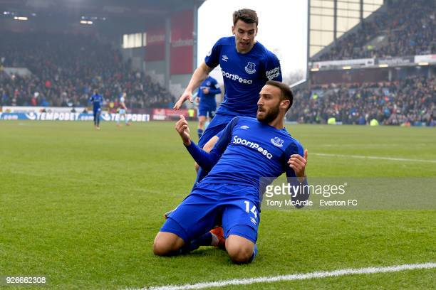 Cenk Tosun of Everton celebrates to scoring the first goal during the Premier League match between Burnley and Everton at Turf Moor on March 3 2018...
