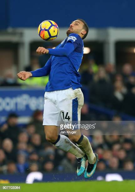 Cenk Tosun of Everton controls the ball during the Premier League match between Everton and West Bromwich Albion at Goodison Park on January 20 2018...