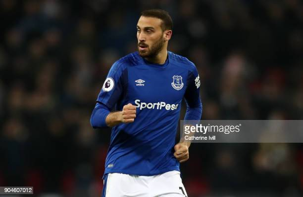 Cenk Tosun of Everton during the Premier League match between Tottenham Hotspur and Everton at Wembley Stadium on January 13 2018 in London England |