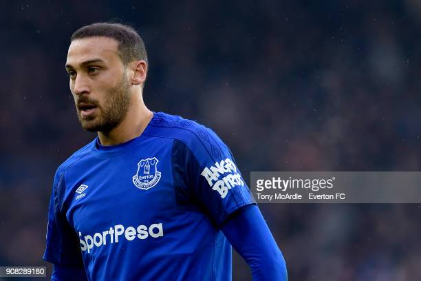 Cenk Tosun of Everton during the Premier League match between Everton and West Bromwich Albion at Goodison Park on January 20 2018 in Liverpool...