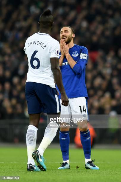 Cenk Tosun of Everton gestures during a Premier League football match between Tottenham Hotspur and Everton at Wembley Stadium in London United...