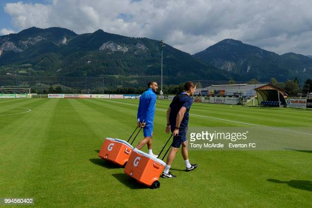 Cenk Tosun of Everton helps out during the Everton training session on July 9 2018 in Bad Mitterndorf Austria
