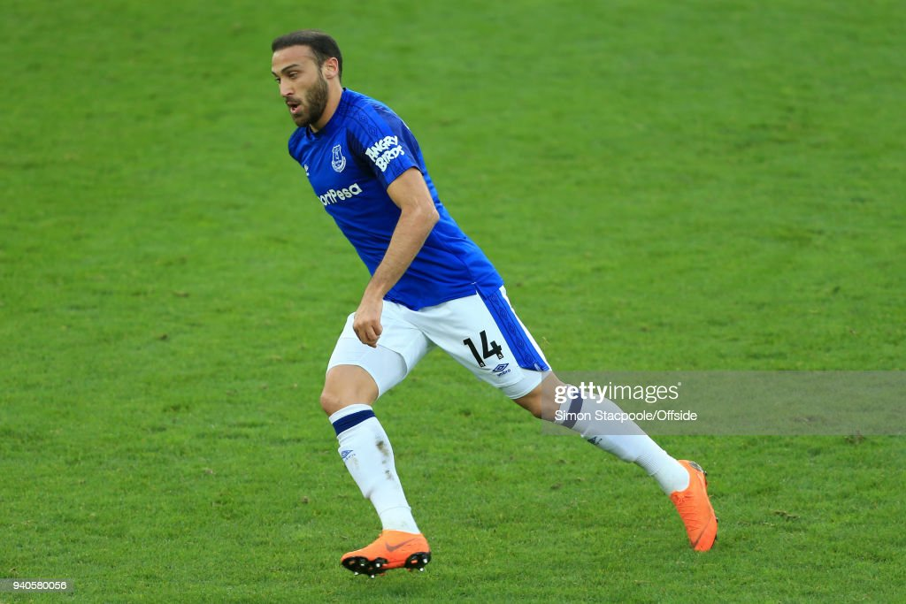 Cenk Tosun of Everton in action during the Premier League match between Everton and Manchester City at Goodison Park on March 31, 2018 in Liverpool, England.