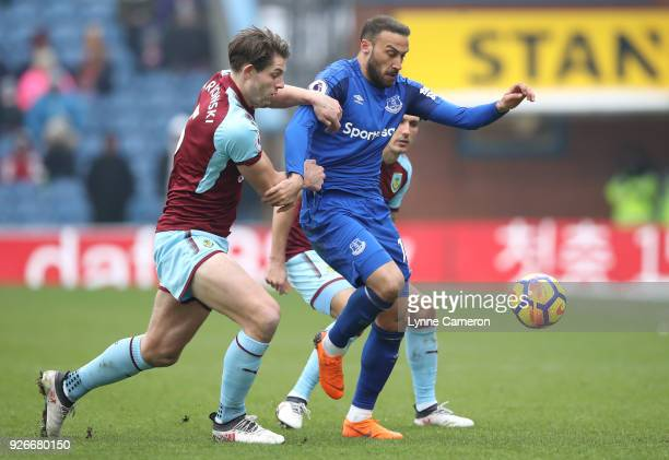 Cenk Tosun of Everton is challenged by James Tarkowski of Burnley during the Premier League match between Burnley and Everton at Turf Moor on March 3...