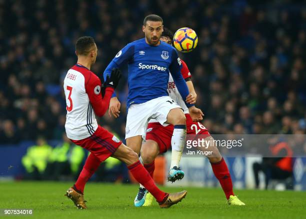 Cenk Tosun of Everton is challenged by Kieran Gibbs of West Bromwich Albion during the Premier League match between Everton and West Bromwich Albion...