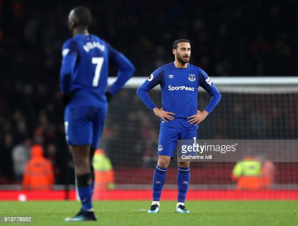 Cenk Tosun of Everton look dejected after the Premier League match between Arsenal and Everton at Emirates Stadium on February 3 2018 in London...