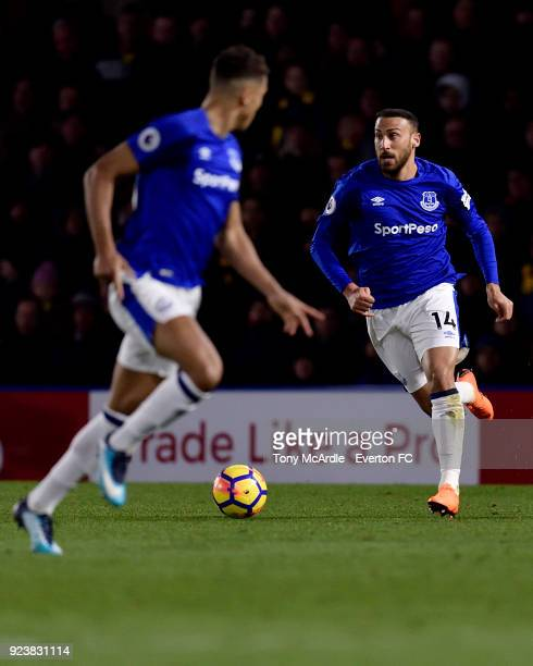 Cenk Tosun of Everton on the ball during the Premier League match between Watford and Everton at Vicarage Road on February 24 2017 in Liverpool...