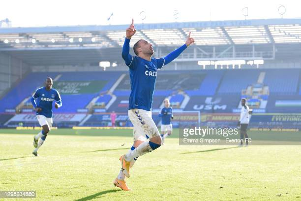 Cenk Tosun of Everton points to the sky as he celebrates a goal that was subsequently ruled offside during the FA Cup Third Round match between...