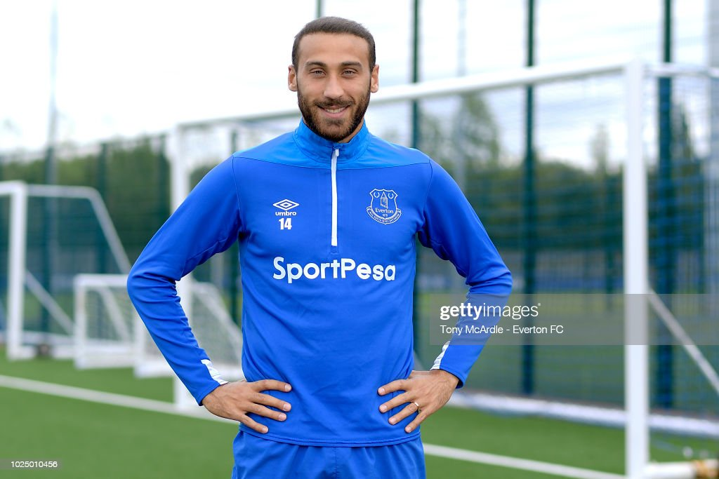 Cenk Tosun of Everton poses for a photo at USM Finch Farm on August 28, 2018 in Halewood, England.