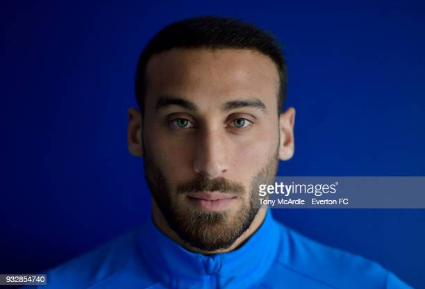 Cenk Tosun of Everton poses for a photograph at USM Finch Farm on March 15 2018 in Halewood England