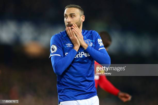 Cenk Tosun of Everton reacts during the Premier League match between Everton FC and Norwich City at Goodison Park on November 23 2019 in Liverpool...