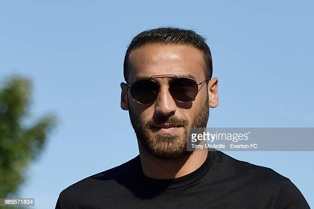 Cenk Tosun of Everton returns for training at USM Finch Farm on July 2 2018 in Halewood England