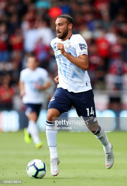 Cenk Tosun of Everton runs with the ball during the Premier League match between AFC Bournemouth and Everton FC at Vitality Stadium on August 25 2018...