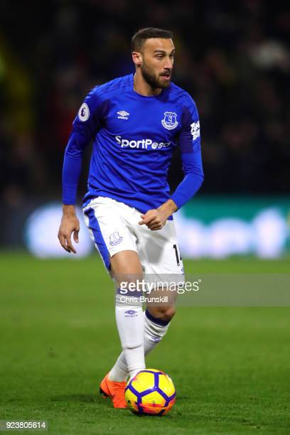 Cenk Tosun of Everton runs with the ball during the Premier League match between Watford and Everton at Vicarage Road on February 24 2018 in Watford...