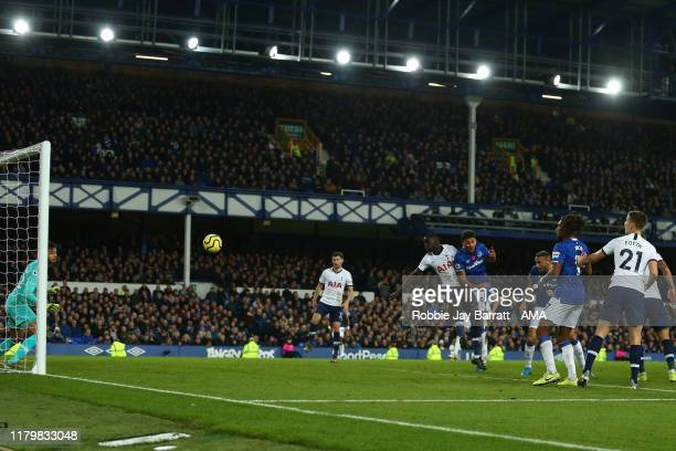 Cenk Tosun of Everton scores a goal to make it 11 during the Premier League match between Everton FC and Tottenham Hotspur at Goodison Park on...