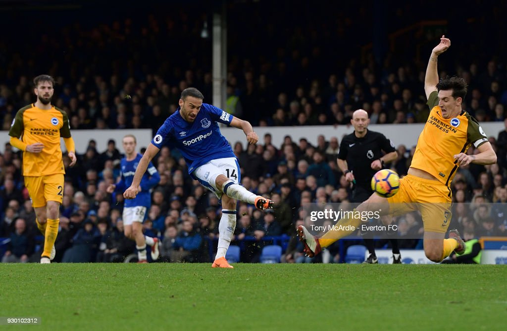 Cenk Tosun of Everton scores during the Premier League match between Everton and Brighton and Hove Albion at Goodison Park on March 10, 2018 in Liverpool, England.