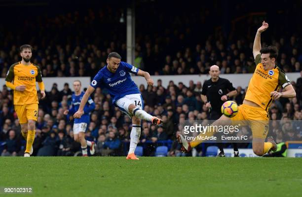 Cenk Tosun of Everton scores during the Premier League match between Everton and Brighton and Hove Albion at Goodison Park on March 10 2018 in...