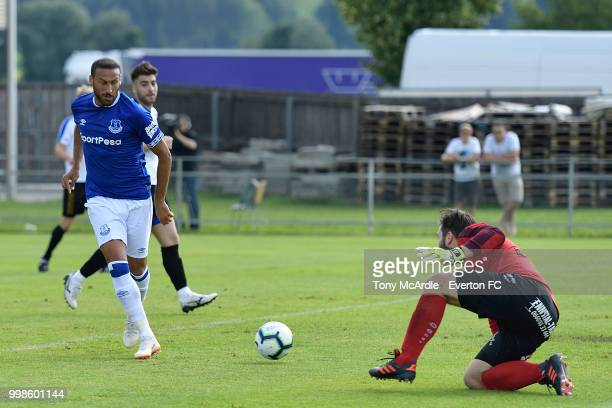 Cenk Tosun of Everton scores during the preseason friendly match between ATV Irdning and Everton on July 14 2018 in Liezen Austria