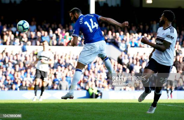 Cenk Tosun of Everton scores from a header for his sides second goal during the Premier League match between Everton FC and Fulham FC at Goodison...