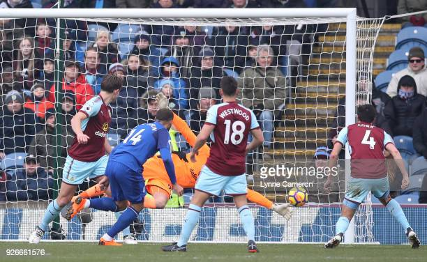 Cenk Tosun of Everton scores his sides first goal during the Premier League match between Burnley and Everton at Turf Moor on March 3 2018 in Burnley...