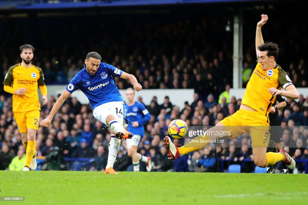 Cenk Tosun of Everton scores his side's second goal during the Premier League match between Everton and Brighton and Hove Albion at Goodison Park on March 10, 2018 in Liverpool, England.