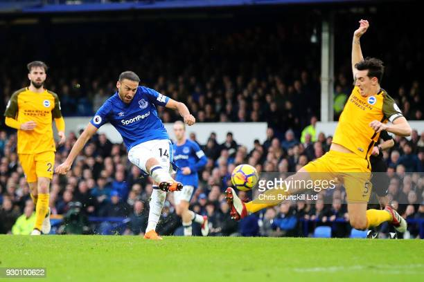 Cenk Tosun of Everton scores his side's second goal during the Premier League match between Everton and Brighton and Hove Albion at Goodison Park on...