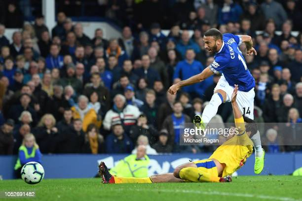 Cenk Tosun of Everton scores his team's second goal during the Premier League match between Everton FC and Crystal Palace at Goodison Park on October...