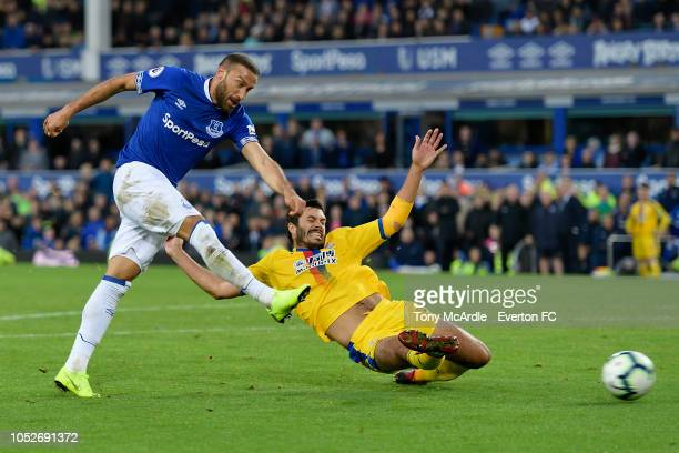 Cenk Tosun of Everton shoots to score during the Premier League match between Everton and Crystal Palace at Goodison Park on October 21, 2018 in...
