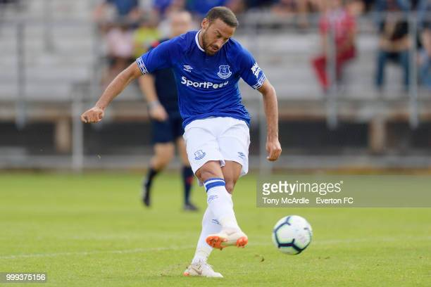 Cenk Tosun of Everton shoots to score during the preseason friendly match between ATV Irdning and Everton on July 14 2018 in Liezen Austria