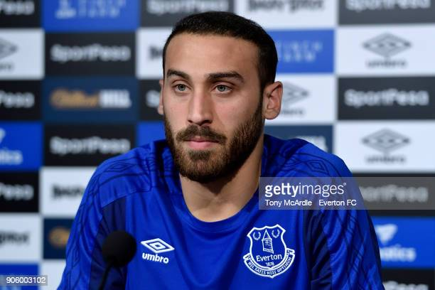 Cenk Tosun of Everton speaks to the press during the Everton press conference at USM Finch Farm on January 12, 2018 in Halewood, England.