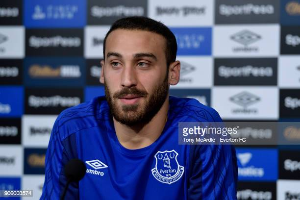 Cenk Tosun of Everton speaks to the press during the Everton press conference at USM Finch Farm on January 12 2018 in Halewood England
