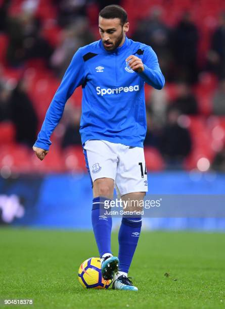 Cenk Tosun of Everton warms up prior to the Premier League match between Tottenham Hotspur and Everton at Wembley Stadium on January 13 2018 in...